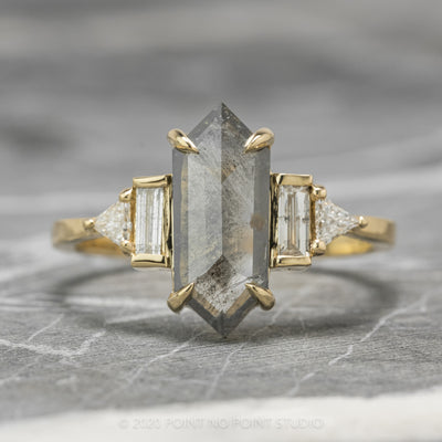 1.54ct Grey Speckled Hexagon Diamond Engagement Ring, Beatrice Setting, 14K Yellow Gold