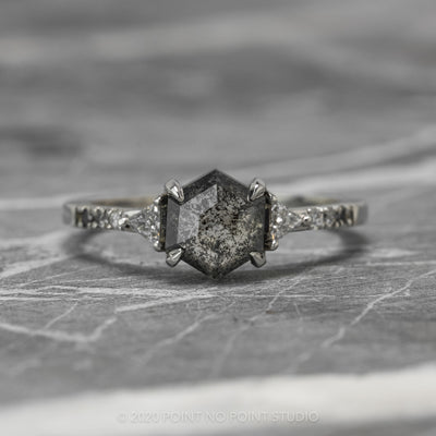 1.69ct Black Speckled Hexagon Diamond Engagement Ring, Ombre Eliza Setting, 14K White Gold