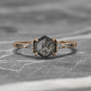1.69ct Black Speckled Hexagon Diamond Engagement Ring, Ombre Eliza Setting, 14K Rose Gold
