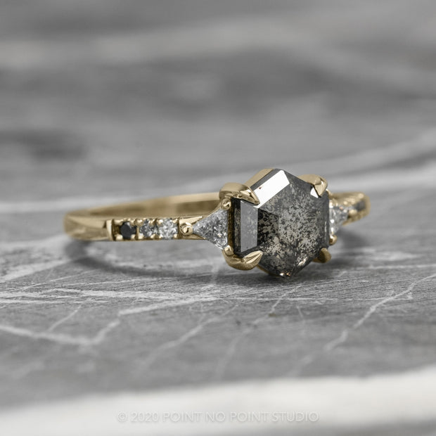 1.69ct Black Speckled Hexagon Diamond Engagement Ring, Ombre Eliza Setting, 14K Yellow Gold