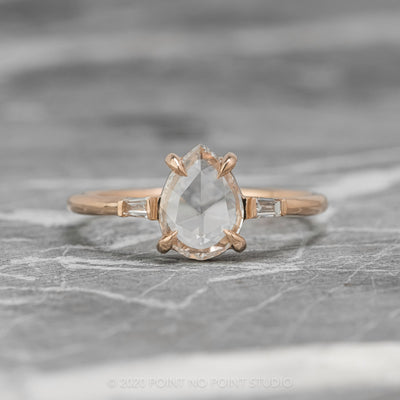.97ct Clear Pear Diamond Engagement Ring, Zoe Setting, 14K Rose Gold