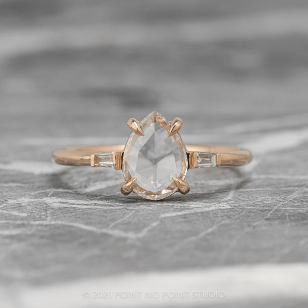 .93 ct Clear Pear Diamond Engagement Ring, Zoe Setting, 14K Rose Gold