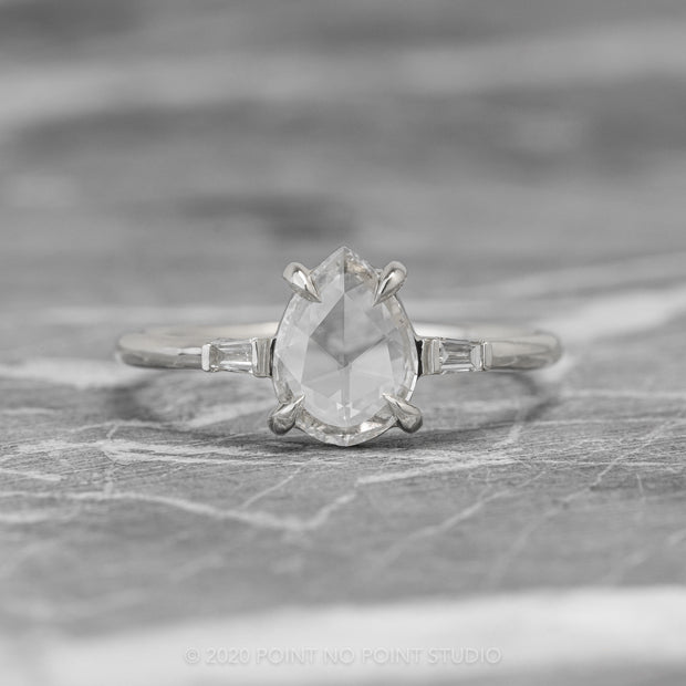 .93 ct Clear Pear Diamond Engagement Ring, Zoe Setting, 14K White Gold
