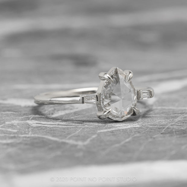 .97ct Clear Pear Diamond Engagement Ring, Zoe Setting, 14K White Gold