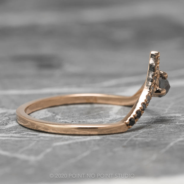 Ombre Diamond Wedding Ring, Adorn Ombre Vivian Setting, 14k Rose Gold, Deep Contour