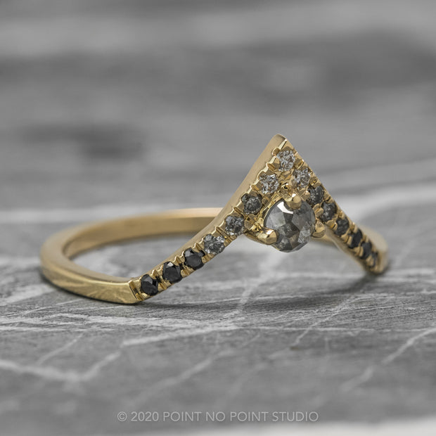Ombre Diamond Wedding Ring, Adorn Ombre Vivian Setting, 14k Yellow Gold, Deep Contour