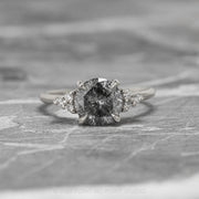 1.17ct Salt & Pepper Diamond Engagement Ring, Petite Quinn Setting, 14K White Gold