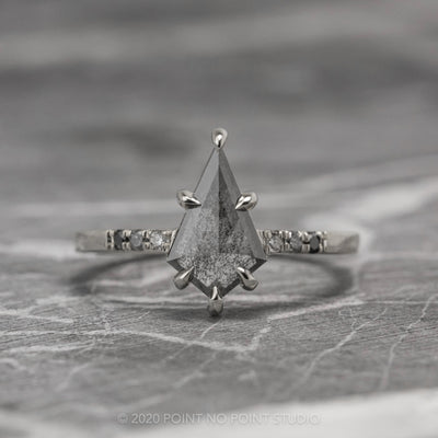 1.04ct Black Speckled Kite Diamond Engagement Ring, Ombre Jules Setting, 14K White Gold