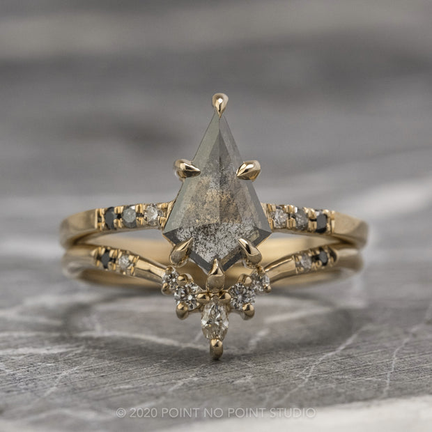 .98ct Black Speckled Kite Diamond Engagement Ring, Ombre Jules Setting, 14K Yellow Gold