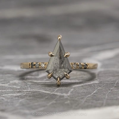 1.04ct Black Speckled Kite Diamond Engagement Ring, Ombre Jules Setting, 14K Yellow Gold