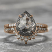 2.84 Carat Salt & Pepper Pear Diamond Engagement Ring, Jules Setting, 14K Rose Gold