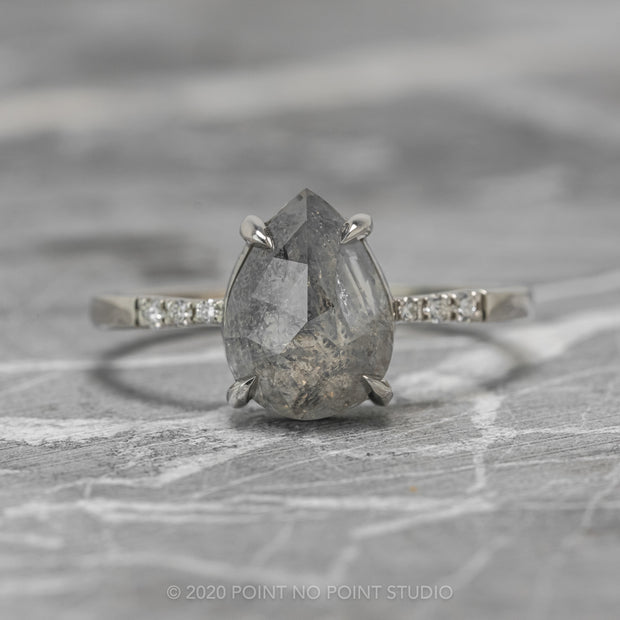 2.64ct Grey Speckled Pear Diamond Engagement Ring, Tapered Jules Setting, 14K White Gold
