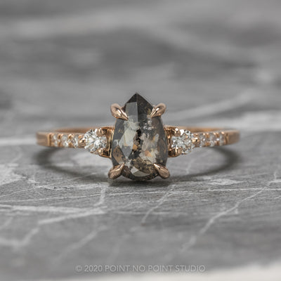 1.14ct Black Speckled Pear Diamond Engagement Ring, Eliza Setting, 14K Rose Gold