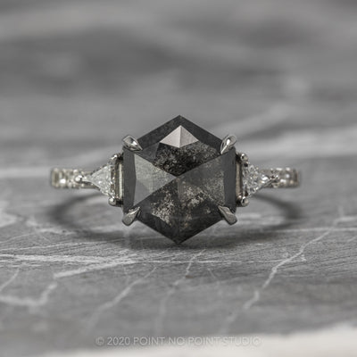 3ct Black Speckled Hexagon Diamond Engagement Ring, Eliza Setting, 14K White Gold