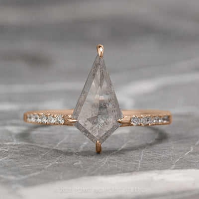 1.11ct Translucent Salt & Pepper Kite Diamond Engagement Ring, Jules setting, 14K Rose Gold