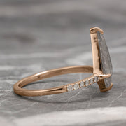 1.02ct Kite Diamond Engagement Ring, Jules setting, 14K Rose Gold