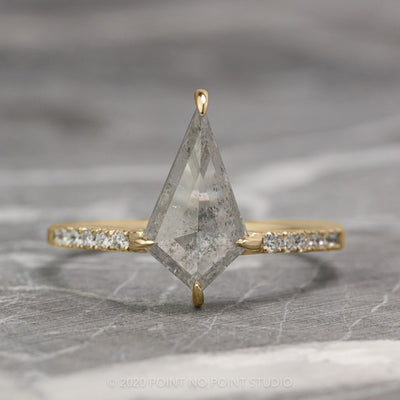 1.11ct Translucent Salt & Pepper Kite Diamond Engagement Ring, Jules Setting, 14K Yellow Gold