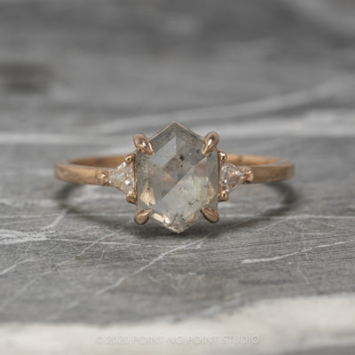 1.45ct Hexagon Diamond Engagement Ring, Zoe Setting, 14K Rose Gold