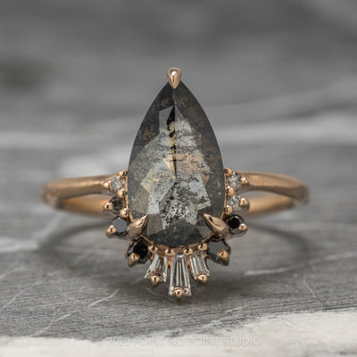 3.68ct Black Speckled Pear Diamond Engagement Ring, Ombre Wren, 14K Rose Gold