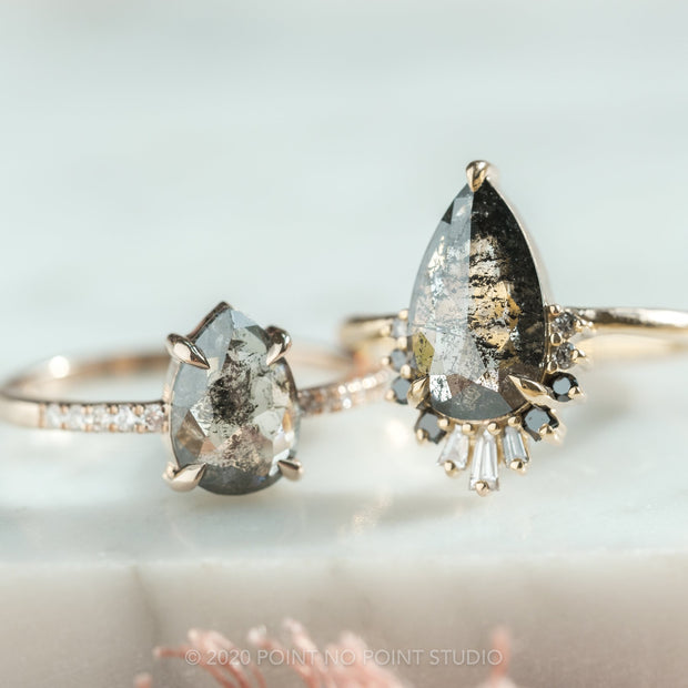 3.68ct Black Speckled Pear Diamond Engagement Ring, Ombre Wren, 14K Yellow Gold