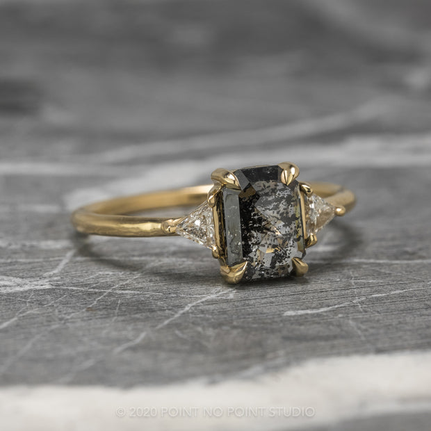 1.30 Carat Black Speckled Emerald Shaped Diamond Engagement Ring, Zoe Setting, 14K Yellow Gold