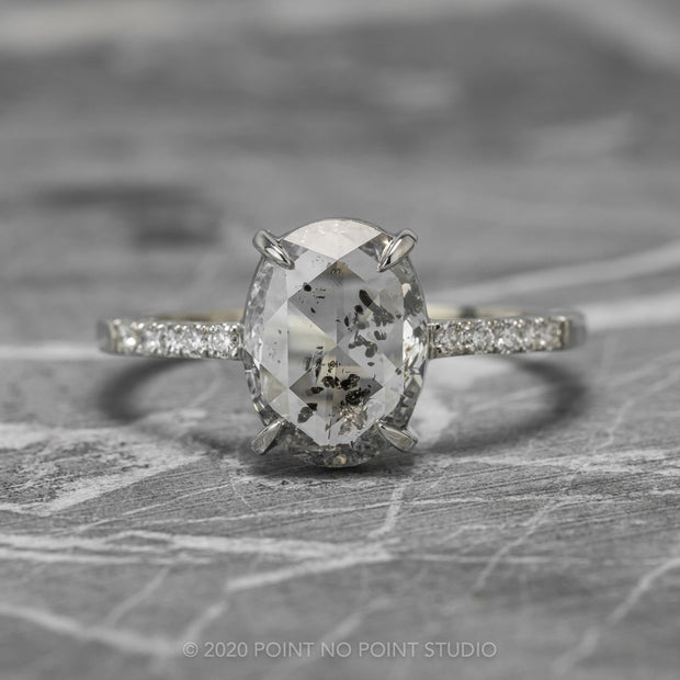 1.77 Carat Translucent Oval Diamond Engagement Ring, Jules Setting, 14K White Gold
