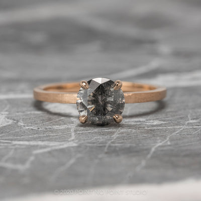 1.16ct Salt & Pepper Engagement Ring, Jane Setting, 14K Rose Gold