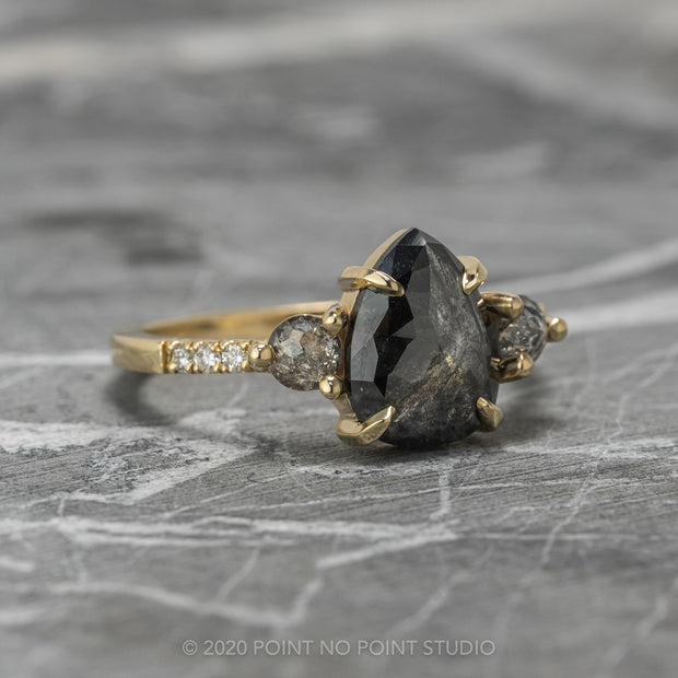 2.18ct Black Speckled Pear Diamond Engagement Ring, Eliza Setting, 14K Yellow Gold