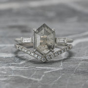 2 Carat Salt & Pepper Hexagon Diamond Engagement Ring, Zoe Setting, 14K White Gold