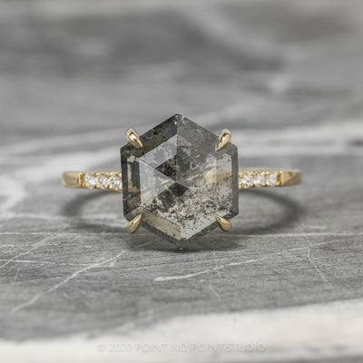 3.16ct Salt & Pepper Hexagon Diamond Engagement Ring, Jules Setting, 14k Yellow Gpld