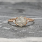 1.82ct Icy White Hexagon Diamond Engagement Ring, Zoe Setting, 14K Rose Gold