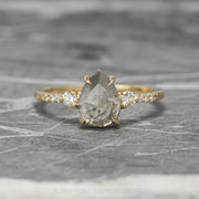 2.10ct Salt & Pepper Pear Diamond Engagement Ring, Eliza Setting, 14K Yellow Gold