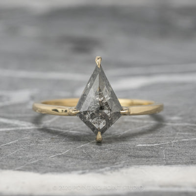1.55ct Salt & Pepper Kite Diamond Engagement Ring, Jane Setting, 14K Yellow Gold
