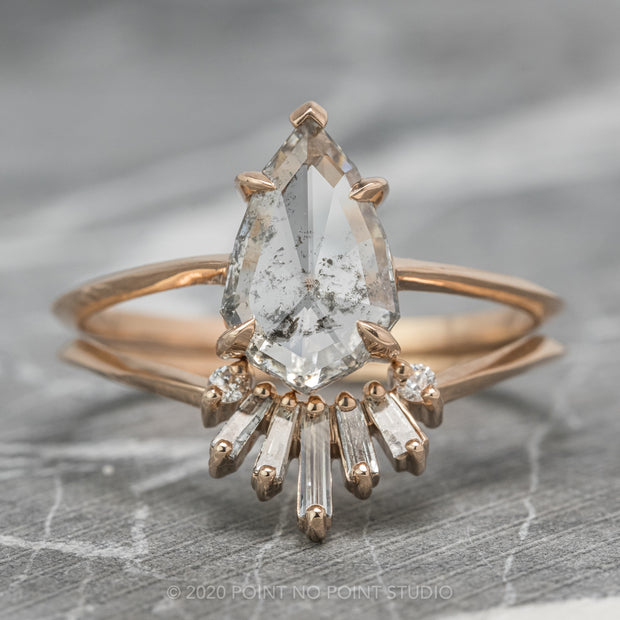 1.10ct Translucent Salt & Pepper Kite Diamond Engagement Ring, Jane Setting, 14k Rose Gold