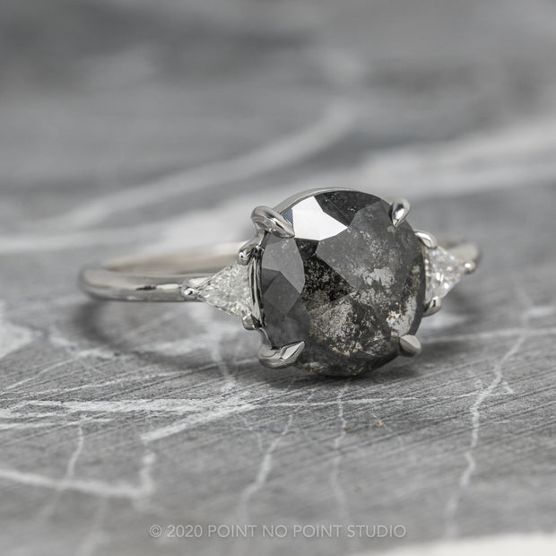 2.02 Carat Black Speckled Cushion Diamond Engagement Ring, Zoe Setting, 14K White Gold