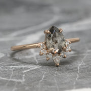 1.51ct Salt & Pepper Pear Diamond Engagement Ring, Ava Setting, 14k Rose Gold