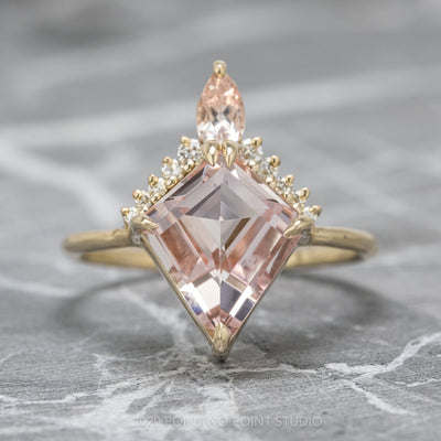 2.48ct Kite Morganite Engagement Ring, Ava Setting, 14K Yellow Gold