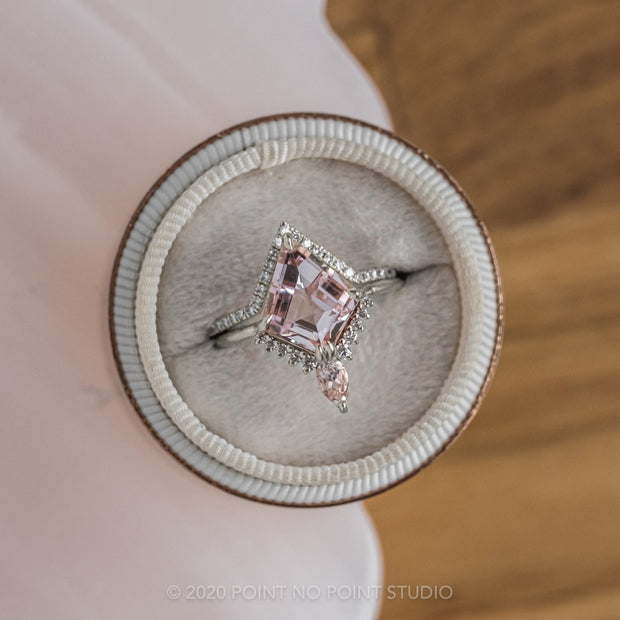 2.48ct Kite Morganite Engagement Ring, Ava Setting, 14K White gold