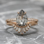 2.57ct Salt & Pepper Pear Diamond Engagement Ring, Jules Setting, 14K Rose Gold