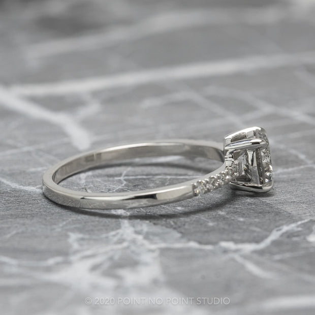 1ct Salt & Pepper Diamond Engagement Ring, Jules Setting, 14K White Gold