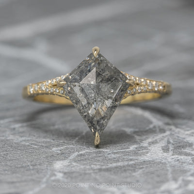 2.07ct Salt & Pepper Kite Diamond Engagement Ring, River Setting, 14K Yellow Gold