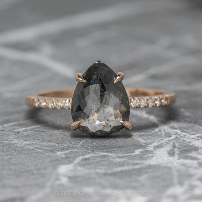 1.71ct Black Speckled Pear Diamond Engagement Ring, Jules Setting, 14K Rose Gold