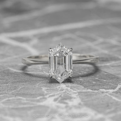 1 Carat Clear Hexagon Diamond Engagement Ring, Jane Setting, 14k White Gold