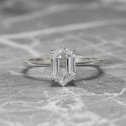 1.54ct Clear Hexagon Diamond Engagement Ring, Jane Setting, Platinum