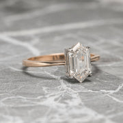 1.54ct Clear Hexagon Diamond Engagement Ring, Jane Setting, Platinum & 14K Rose Gold