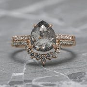 2.56ct Salt & Pepper Pear Diamond Engagement Ring, Jules Setting, 14k Rose Gold