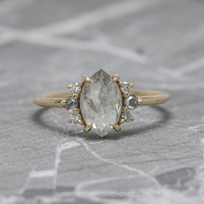 1.46ct Opalescent Salt & Pepper Marquise Diamond Charlotte Setting, 14k Yellow Gold
