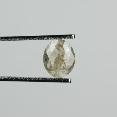 1.40 Carat Rose Cut Grey Green Oval Diamond