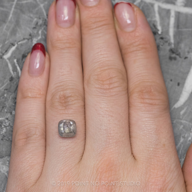 3.61 Carat Double Cut Grey Speckled Cushion Diamond