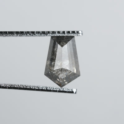 2.43 Carat Black Speckled Rose Cut Geometric Diamond